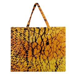 Yellow Chevron Zigzag Pattern Zipper Large Tote Bag