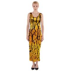 Yellow Chevron Zigzag Pattern Fitted Maxi Dress