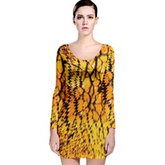 Yellow Chevron Zigzag Pattern Long Sleeve Velvet Bodycon Dress