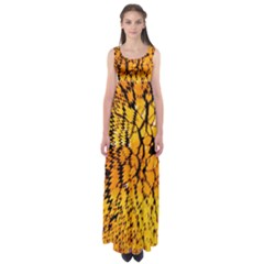 Yellow Chevron Zigzag Pattern Empire Waist Maxi Dress