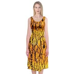 Yellow Chevron Zigzag Pattern Midi Sleeveless Dress