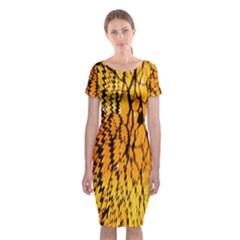 Yellow Chevron Zigzag Pattern Classic Short Sleeve Midi Dress