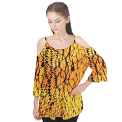 Yellow Chevron Zigzag Pattern Flutter Tees