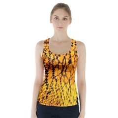 Yellow Chevron Zigzag Pattern Racer Back Sports Top