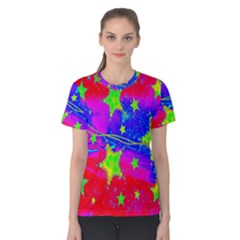 Red Background With A Stars Women s Cotton Tee