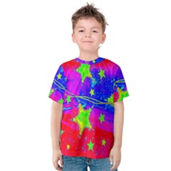 Red Background With A Stars Kids  Cotton Tee