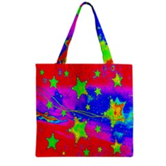 Red Background With A Stars Grocery Tote Bag