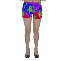 Red Background With A Stars Skinny Shorts