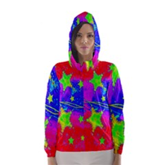 Red Background With A Stars Hooded Wind Breaker (women)