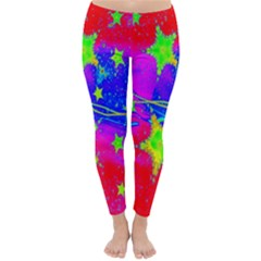 Red Background With A Stars Classic Winter Leggings