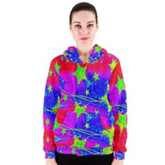 Red Background With A Stars Women s Zipper Hoodie