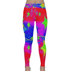 Red Background With A Stars Classic Yoga Leggings