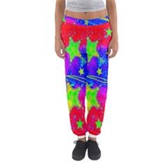 Red Background With A Stars Women s Jogger Sweatpants