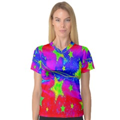 Red Background With A Stars Women s V Neck Sport Mesh Tee