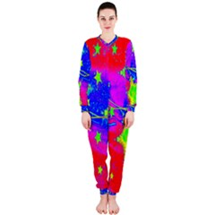 Red Background With A Stars Onepiece Jumpsuit (ladies)
