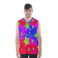 Red Background With A Stars Men s Basketball Tank Top