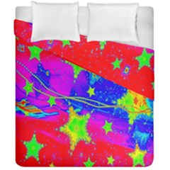 Red Background With A Stars Duvet Cover Double Side (california King Size)