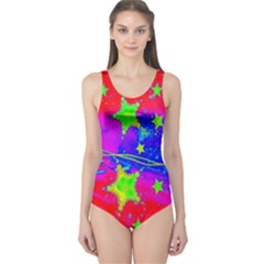 Red Background With A Stars One Piece Swimsuit
