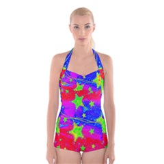 Red Background With A Stars Boyleg Halter Swimsuit