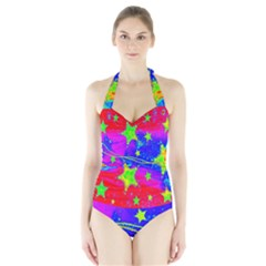 Red Background With A Stars Halter Swimsuit
