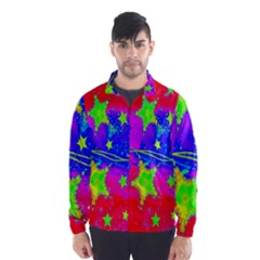 Red Background With A Stars Wind Breaker (Men)