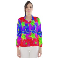 Red Background With A Stars Wind Breaker (women)
