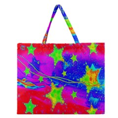 Red Background With A Stars Zipper Large Tote Bag