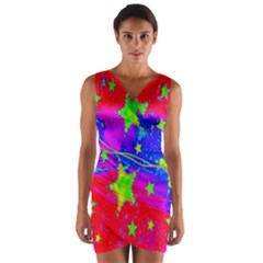 Red Background With A Stars Wrap Front Bodycon Dress