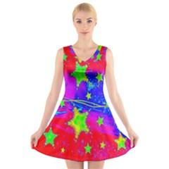 Red Background With A Stars V Neck Sleeveless Skater Dress