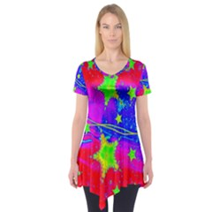 Red Background With A Stars Short Sleeve Tunic