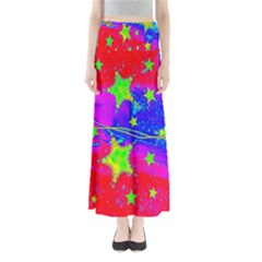 Red Background With A Stars Maxi Skirts