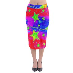 Red Background With A Stars Midi Pencil Skirt