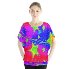Red Background With A Stars Blouse