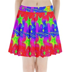 Red Background With A Stars Pleated Mini Skirt