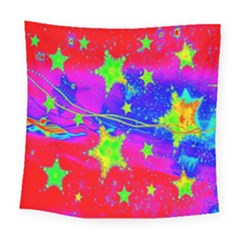 Red Background With A Stars Square Tapestry (large)
