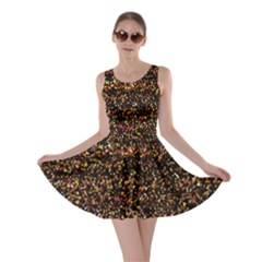 Colorful And Glowing Pixelated Pattern Skater Dress