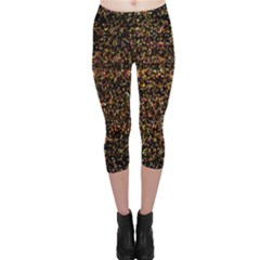 Colorful And Glowing Pixelated Pattern Capri Leggings