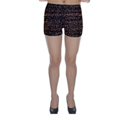 Colorful And Glowing Pixelated Pattern Skinny Shorts