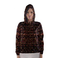 Colorful And Glowing Pixelated Pattern Hooded Wind Breaker (women)