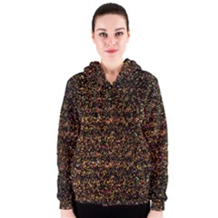 Colorful And Glowing Pixelated Pattern Women s Zipper Hoodie