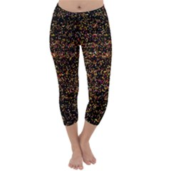 Colorful And Glowing Pixelated Pattern Capri Winter Leggings