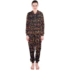 Colorful And Glowing Pixelated Pattern Hooded Jumpsuit (ladies)