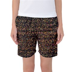 Colorful And Glowing Pixelated Pattern Women s Basketball Shorts