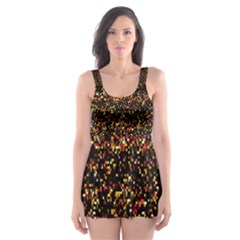 Colorful And Glowing Pixelated Pattern Skater Dress Swimsuit