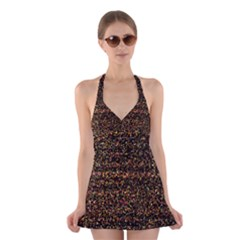 Colorful And Glowing Pixelated Pattern Halter Swimsuit Dress