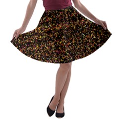 Colorful And Glowing Pixelated Pattern A Line Skater Skirt