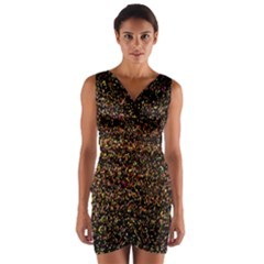 Colorful And Glowing Pixelated Pattern Wrap Front Bodycon Dress