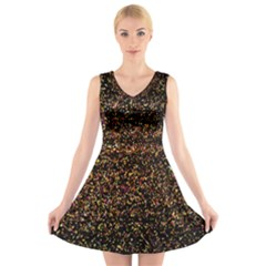 Colorful And Glowing Pixelated Pattern V Neck Sleeveless Skater Dress