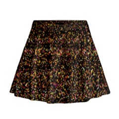 Colorful And Glowing Pixelated Pattern Mini Flare Skirt