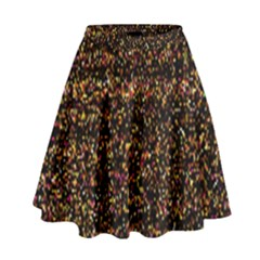 Colorful And Glowing Pixelated Pattern High Waist Skirt
